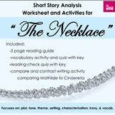 """""""The Necklace"""" Short Story Analysis Worksheet and Activities Set"""