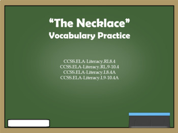 """""""The Necklace"""" Vocabulary"""