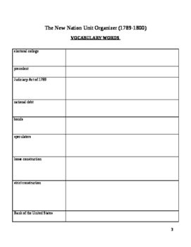 """""""The New Nation"""" Unit Plan/Organizer for Students"""