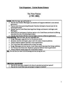 """The New Nation"" Unit Plan/Organizer for Students"