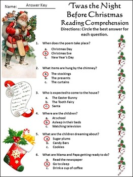 Christmas Reading Activities: The Night Before Christmas ELA Activities - Color
