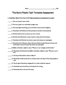 """""""The Nun's Priest's Tale"""" Formative Assessment"""