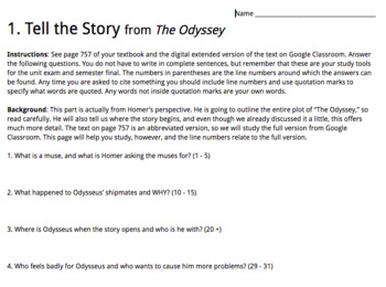 """""""The Odyssey"""" Comprehension Handouts"""