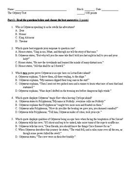 """""""The Odyssey"""" Test and Study Guide"""