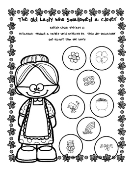 """""""The Old Lady Who Swallowed a Clover"""" Speech and Language Packet"""