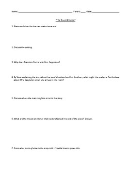 """The Open Window"" Worksheet, Assessment, or Homework and Detailed Answer Key"