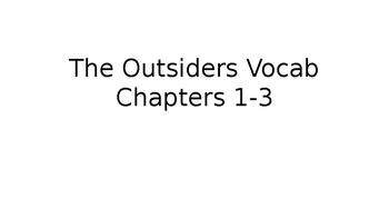 """The Outsiders"" Chapters 1-3 Vocabulary Words with Pictures"