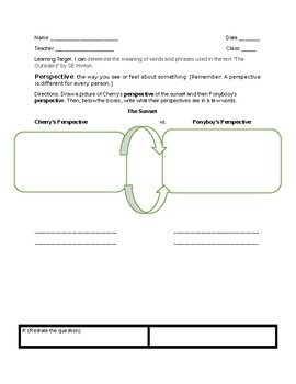 """""""The Outsiders"""" Perspective Graphic Organizer"""