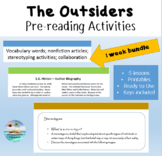 """The Outsiders"" Pre-reading activities; 1 week bundle; Printable"