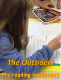 """The Outsiders"" Pre-reading vocabulary list, game, test w/ key"