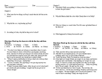 """""""The Outsiders"""" Quotes and questions Chapters 1-5 Answer Key included"""