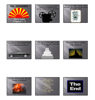 'The Outsiders' Review / Game PowerPoint Presentation 61 Slides (Chapters 1 - 6)