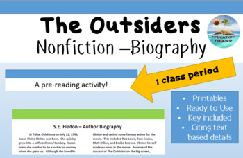 """The Outsiders"" pre-reading; informational text; expository writing"