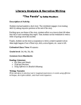 """The Panda"" Literary Analysis & Narrative Writing Activity"