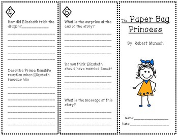 the paper bag princess trifold by teaching in room 25 tpt. Black Bedroom Furniture Sets. Home Design Ideas
