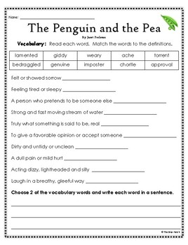 """""""The Penguin and the Pea"""" Activities for Reading, Writing, & Comprehension"""