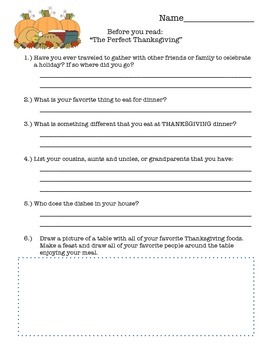 """""""The Perfect Thanksgiving""""  Spinelli - Comprehension, Math and more - 2nd 3rd"""