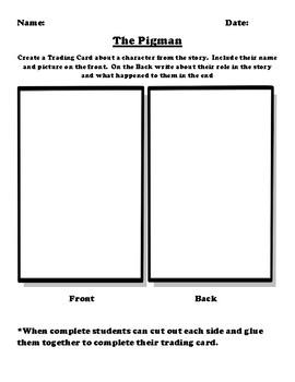 """The Pigman"" Trading Card Worksheet"