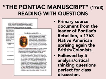 """The Pontiac Manuscript"" - Reading with Questions - USH/APUSH"