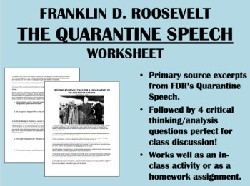 """The Quarantine Speech"" - Franklin Roosevelt - US History/APUSH"