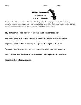 """""""The Raven"""" Stanza 2 Close Read"""