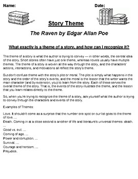 """The Raven"" by Edgar Allan Poe Theme Worksheet"
