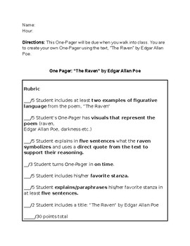 """The Raven"" by Edgar Allen Poe One-Pager"