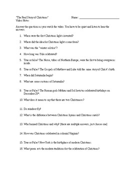 """""""The Real Story of Christmas"""" Video Worksheet"""