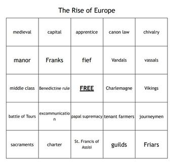 """The Rise of Europe"" Vocabulary Bingo for a World History Course"