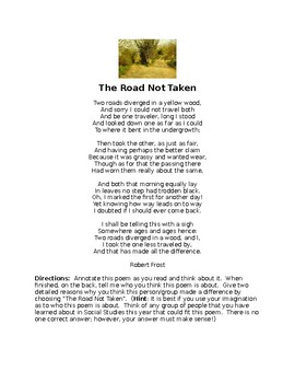 """The Road Not Taken"" By Robert Frost  Annotation practice and Open Response"