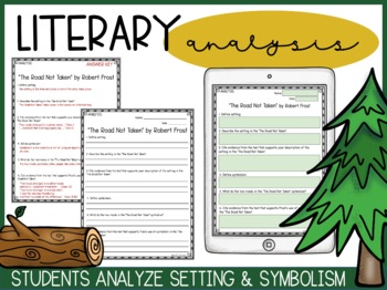 """""""The Road Not Taken"""" - Vocabulary, Comprehension, Analysis, Quiz, & Writing Task"""