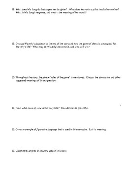 """""""The Rules of the Game"""" by Amy Tan: Test (or Worksheet) and Detailed Answer Key"""