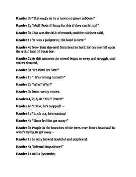 """""""The Sad Tale of Muff Potter; from Tom Sawyer"""" A Readers Theater Script"""