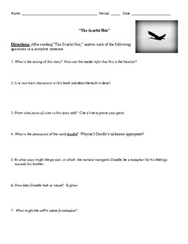 scarlet ibis worksheet resultinfos the scarlet ibis