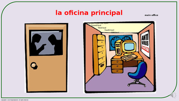 """The School"" in Spanish (PPT). Presentation with audio."