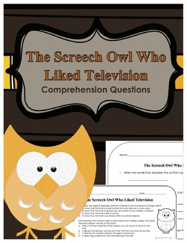 """The Screech Owl Who Liked Television"" Journeys Comprehension Questions"