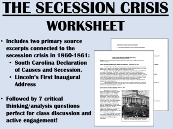 """The Secession Crisis"" reading/questions - Civil War - US History/APUSH"