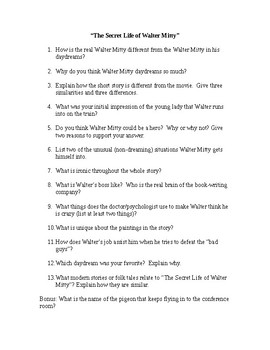 """""""The Secret Life of Walter Mitty"""" Questions"""