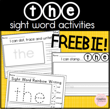 The' Sight Word Activities Freebie for Kindergarten Literacy Centers