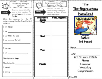 """""""The Signmaker's Assistant"""" Skills Trifold aligned to Journeys Lesson 19"""