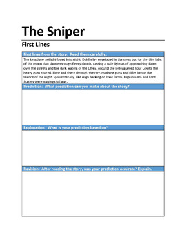 """The Sniper"" First Lines Pre-reading Activity"