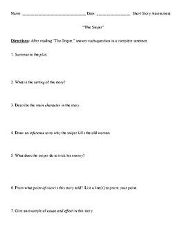 """The Sniper"" Review Worksheet (or Test) and Comprehensive Answer Key"