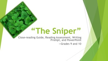 """The Sniper"" Close-reading Guide, Quiz, Writing Prompt, and PP—Grades 9 and 10"
