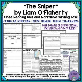 """""""The Sniper"""" by Liam O'Flaherty Close Reading & Narrative Writing Task Unit"""