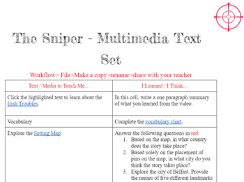 """""""The Sniper"""" by Liam O'Flaherty Multimedia Text Set"""