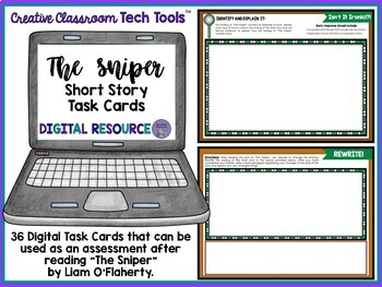 """The Sniper"" by Liam O'Flaherty Task Cards with EDITABLE Templates"