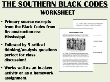 """The Southern Black Codes"" - Reconstruction - US History - APUSH"