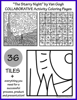 The Starry Night By Van Gogh COLLABORATIVE Activity Coloring Pages