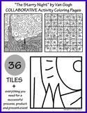 """The Starry Night"" by Van Gogh COLLABORATIVE Activity Coloring Pages"