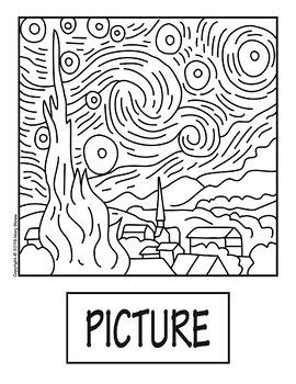 "coloring pages night | ""The Starry Night"" by Van Gogh COLLABORATIVE Activity ..."